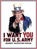 Uncle Sam Vintage War Poster Photographic Print by Stocktrek Images