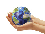 Woman's Hands Holding An Earth Globe Photographic Print by Stocktrek Images