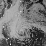 Satellite View of Hurricane Sandy at Night Photographic Print by Stocktrek Images