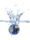 Planet Earth Falling Into Clear Water, Forming a Crown Splash Photographic Print by Stocktrek Images