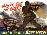 World War II Poster of Airborne Troops Parachuting Into Battle Photographic Print by Stocktrek Images