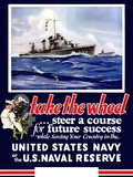 Vintage World War II Navy Poster of U.S. Warships On the Sea Photographic Print by Stocktrek Images