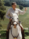 Digitally Restored Vector Photo of President Ronald Reagan On Horseback Photographic Print by Stocktrek Images