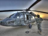 High Dynamic Range Image of a Door Gunner Beside a UH-60 Black Hawk Photographic Print by Stocktrek Images