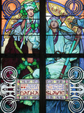 St. Vitus Cathedral, Stained Glass of St. Cyril and Methodius by Alfons Mucha Photographic Print