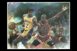 Michael Jordan Guarding Magic Johnson Sports Poster Posters