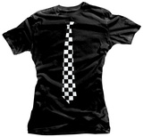 Juniors: Checkered Tie T-Shirt