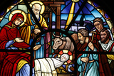 Stained Glass Window Depicting the Nativity Fotodruck