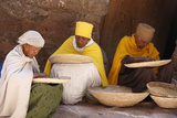 Nuns Sorting Wheat in Bet Maryam Church Courtyard Photographic Print