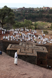 Pilgrims Outside Bieta Ghiorghis (Saint George's House) Church in Lalibela on a Sunday Photographic Print