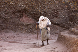 Old Pilgrim Walking to Bet Maryam Church in Lalibela Photographic Print