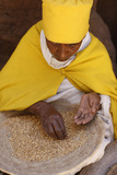 Nun Sorting Wheat in Bet Maryam Church Courtyard Photographic Print