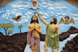 Sculpture Depicting Jesus's Baptism by John the Baptist Photographic Print