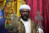 Priest in Bieta Makal Church, Ethiopia Photographic Print