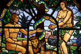 Stained Glass Window Depicting Adam and Eve in the Garden of Eden Photographic Print