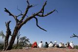 Pilgrims in Lalibela Fotografisk tryk