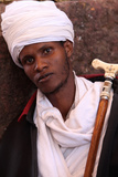 Priest Outside Bet Mariam Church, Lalibela Photographic Print