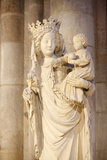 14th Century Virgin and Child in Notre-Dame of Paris Cathedral Photographic Print