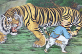 Zen Koan Painting Depicting Monk and Tiger Photographic Print