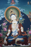 Thangka Depicting White Tara Goddess, Buddhist Symbol of Long Life Photographic Print