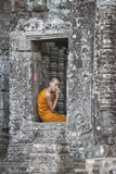 Monk at the Bayon Temple, Angkor Thom Complex Photographic Print