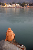 Sadhu Sitting by the Ganges in Rishikesh Photographic Print