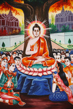 Life of the Buddha, Teaching the People Each Evening Photographic Print