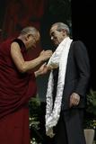 The Dalai Lama Gives a Scarf to R. Badinter Photographic Print