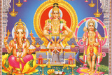Picture of Hindu Gods Ganesh, Ayappa and Subramania Photographic Print