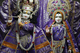 Krishna and Rada Statues in a Rishikesh Temple Photographic Print