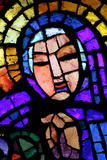 Notre-Dame Des Alpes Church, Virgin Mary Stained Glass by Alexandre Cingria Photographic Print