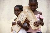 Islamic Schoolgirls Holding Prayer Tablets Photographic Print