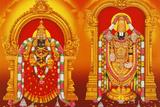 Picture of Hindu Goddess Lakshmi and God Venkateshwara (A Form of Vishnu) Photographic Print