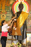 Buddhist Ceremony in a Cambodian Pagoda Photographic Print