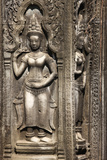 Carved Sandstone Bas-Relief Apsaras (Celestial Maidens) at Ta Prohm Photographic Print