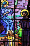 Saint-Joseph of Chedde Church, Holy Family Stained Glass by Raphael Lardeur Photographic Print