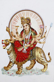 Goddess Sherawali (Durga) Riding a Tiger Photographic Print