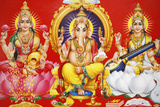 Hindu Godess Laxmi, God Ganesh and Goddess Saraswati (Left to Right) Lámina fotográfica
