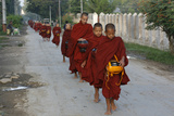 Monks on an Alm Round Photographic Print