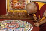 Buddhist Monk Drawing a Mandala Photographic Print
