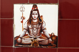 Shiva Ceramic Tile on a Bathing Ghat in Rishikesh Photographic Print