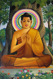 Painting Depicting a Sitting Buddha in Wat Than Photographic Print