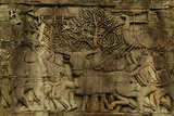 Detail of Bas-Relief Sculpture on Bayon Temple at Angkor Thom Photographic Print