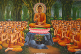 Painting Depicting Buddha Teaching to Monks Photographic Print