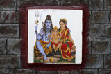 Shiva's Family Depicted on Ceramic Tile on a Wall in Rishikesh Photographic Print