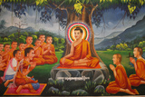 Painting Depicting Buddha Teaching under a Tree Photographic Print