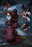 Filipino Pilgrim Bathing in Santa Lucia Holy Water at Foot of Mount Banahaw During Lent Photographic Print