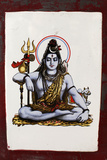 Shiva Image on a Ceramic Tile on a Bathing Ghat in Rishikesh Photographic Print