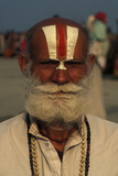 Hindu Pilgrim with Vishnu Symbol on His Forehead at Ganga Sagar Mela Photographic Print