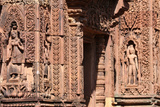Relief Sculpture on the Central Towers of Banteay Srei Temple at Angkor Photographic Print